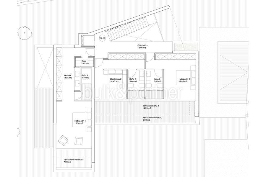 Luxury villa with perfect sea views in Moraira Benimeit - Floor plan top floor - ID: 5500670 - Architect Ramón Gandia Brull (RGB Arquitectos)