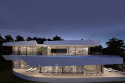 Luxury villa with stunning sea views in Altéa Hills - Front and pool illuminated - ID: 5500669 - Architect Ramón Gandia Brull