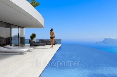 Luxusvilla mit perfektem Meerblick in Altéa Hills - Pool Terrasse mit Meerblick - ID: 5500669 - Architekt Ramón Gandia Brull (RGB Arquitectos)