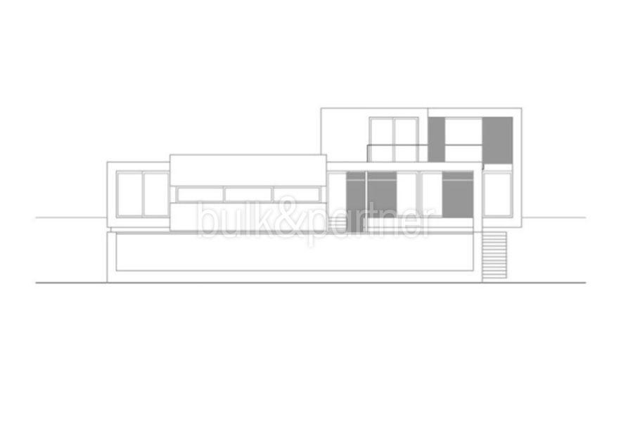 Moderne erste Meereslinie Luxusvilla in Moraira Cala Andragó - Grundriss östliche Fassade Variante 1 - ID: 5500673 - Architekt Luís Manuel Ferrer Obanos