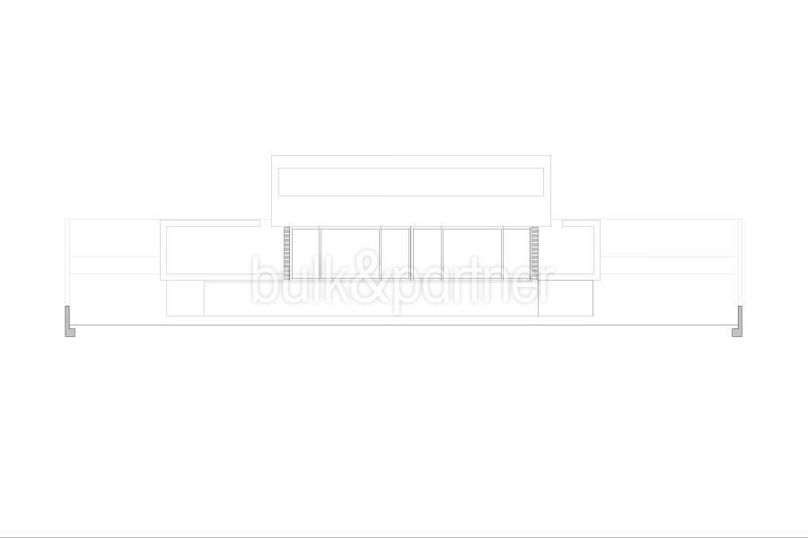 Moderne erste Meereslinie Luxusvilla in Moraira Cala l'Andragó - Grundriss östliche Fassade Variante 2 - ID: 5500673 - Architekt Luís Manuel Ferrer Obanos