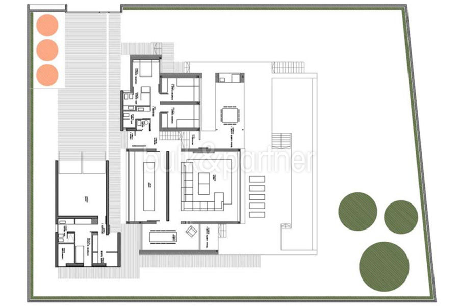 Moderne erste Meereslinie Luxusvilla in Moraira Cala l'Andragó - Grundriss Erdgeschoss Variante 1 - ID: 5500673 - Architekt Luís Manuel Ferrer Obanos