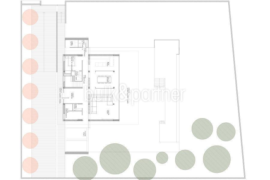 Moderne erste Meereslinie Luxusvilla in Moraira Cala l'Andragó - Grundriss Erdgeschoss Variante 2 - ID: 5500673 - Architekt Luís Manuel Ferrer Obanos