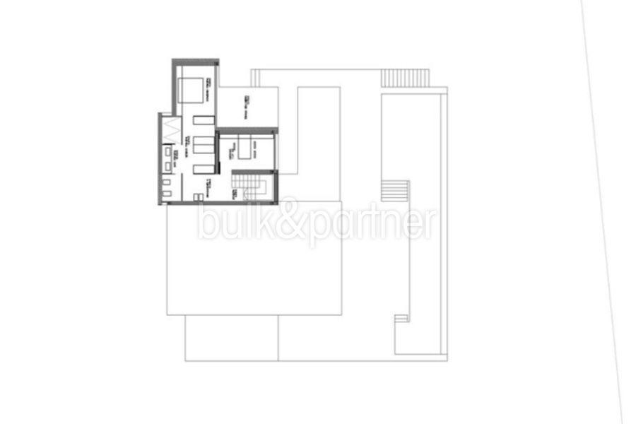 Moderne erste Meereslinie Luxusvilla in Moraira Cala l'Andragó - Grundriss Obergeschoss Variante 1 - ID: 5500673 - Architekt Luís Manuel Ferrer Obanos