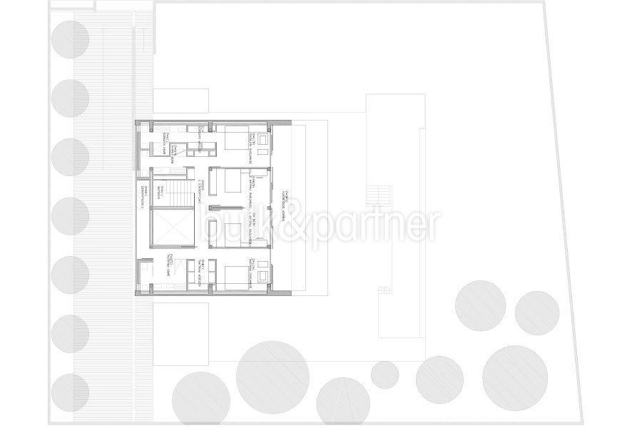 Moderne erste Meereslinie Luxusvilla in Moraira Cala l'Andragó - Grundriss Obergeschoss Variante 2 - ID: 5500673 - Architekt Luís Manuel Ferrer Obanos