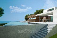Moderne erste Meereslinie Luxusvilla in Moraira Cala l'Andragó - Pool Terrasse mit Meerblick - ID: 5500673 - Architekt Luís Manuel Ferrer Obanos