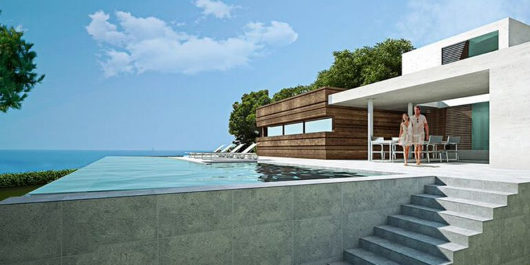 Modern seafront luxury villa in Moraira Cala Andragó - Pool terrace with sea views - ID: 5500673 - Architect Luís Manuel Ferrer Obanos