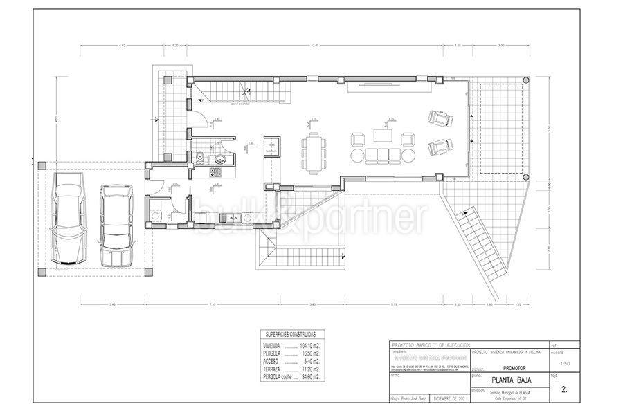 Seafront luxury villa in Benissa Cala Advocat - Floor plan ground floor - ID: 5500677