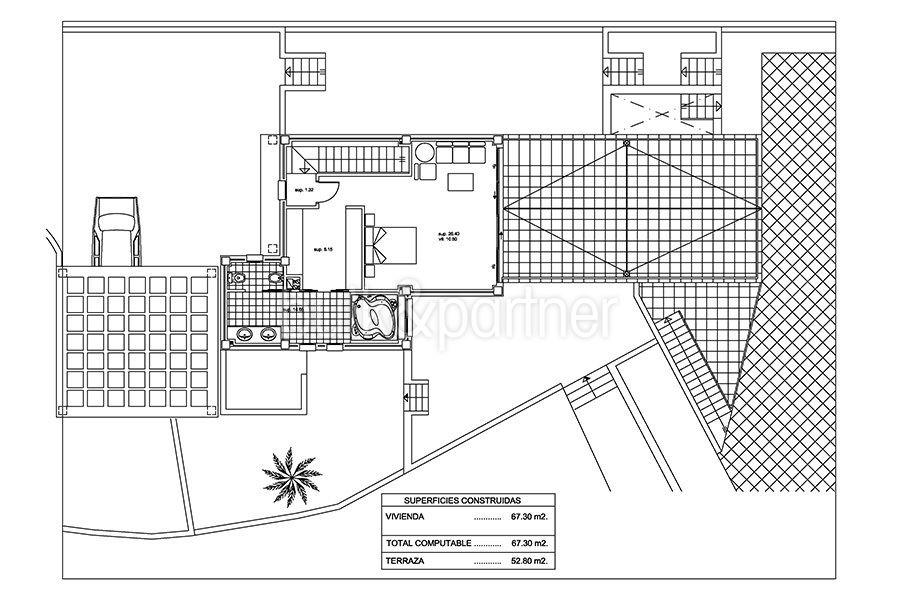 Seafront luxury villa in Benissa Cala Advocat - Floor plan top floor - ID: 5500677