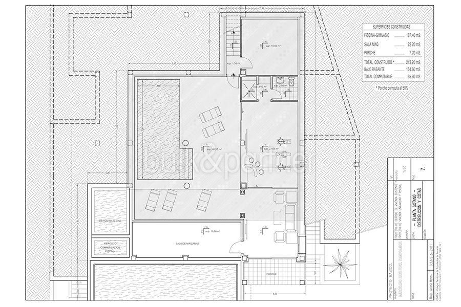 Wonderful new villa with stunning sea views in Moraira San Jaime/Moravit - Floor plan basement with indoor pool - ID: 5500675