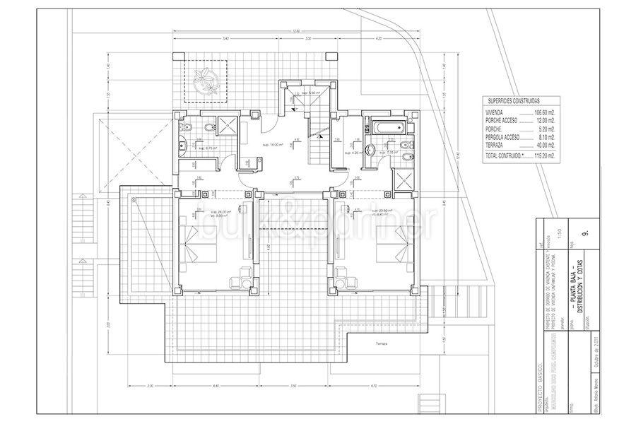 Wonderful new villa with stunning sea views in Moraira San Jaime/Moravit - Floor plan first floor - ID: 5500675