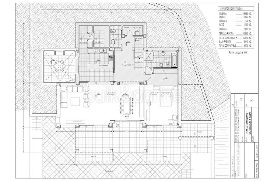 Wonderful new villa with stunning sea views in Moraira San Jaime/Moravit - Floor plan ground floor - ID: 5500675