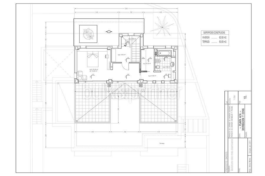 Wonderful new villa with stunning sea views in Moraira San Jaime/Moravit - Floor plan top floor - ID: 5500675