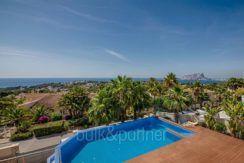 Wonderful new villa with stunning sea views in Moraira San Jaime - Pool terrace with sea views - ID: 5500675
