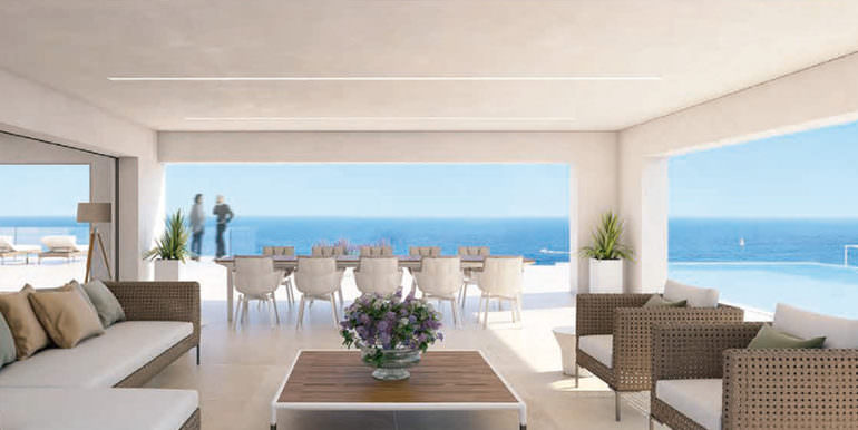 First line ibizan style luxury villa in Jávea Balcón al Mar - Covered terrace with sea views - ID: 5500678