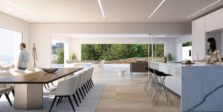 First line ibizan style luxury villa in Jávea Balcón al Mar - Open kitchen and dining area - ID: 5500678