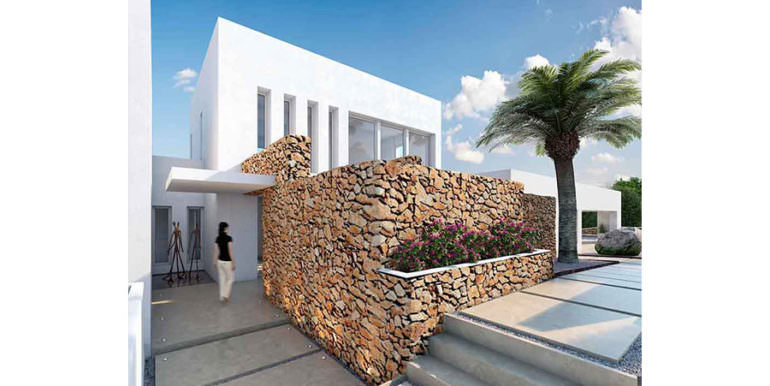 First line ibizan style luxury villa in Jávea Balcón al Mar - Entrance with natural stone wall - ID: 5500678