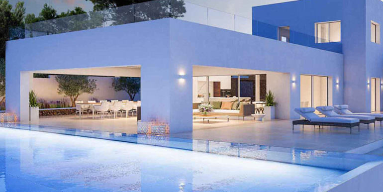 First line ibizan style luxury villa in Jávea Balcón al Mar - Covered pool terrace - ID: 5500678