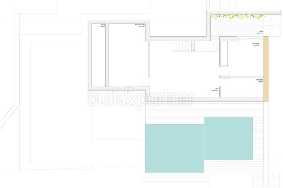 Modern design luxury villa in Moraira Moravit - Floor plan basement - ID: 5500684 - Architect Ramón Esteve Estudio