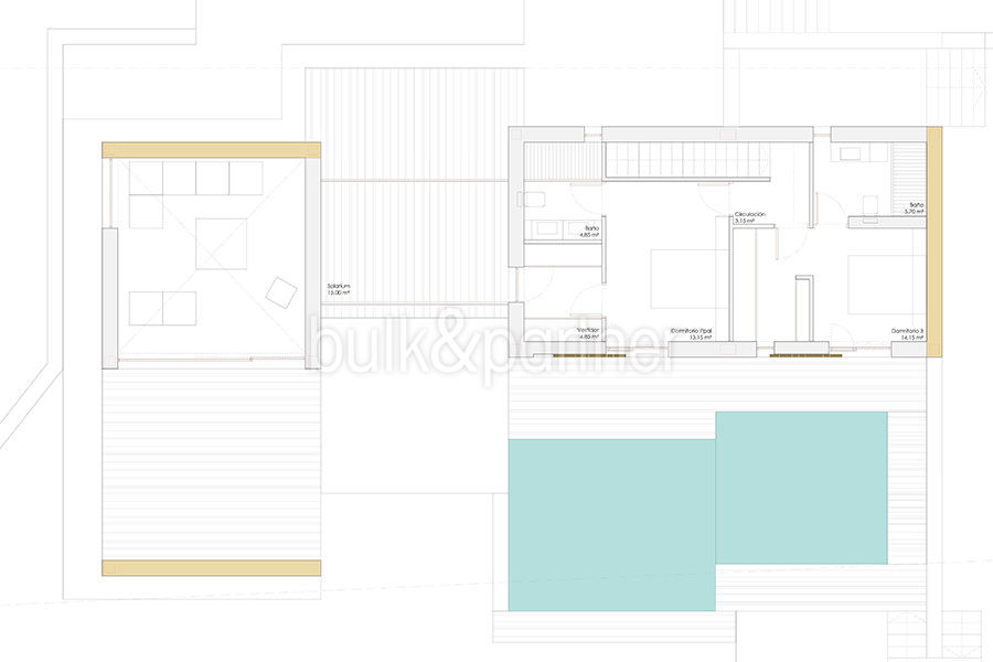 Modern design luxury villa in Moraira Moravit - Floor plan top floor - ID: 5500684 - Architect Ramón Esteve Estudio