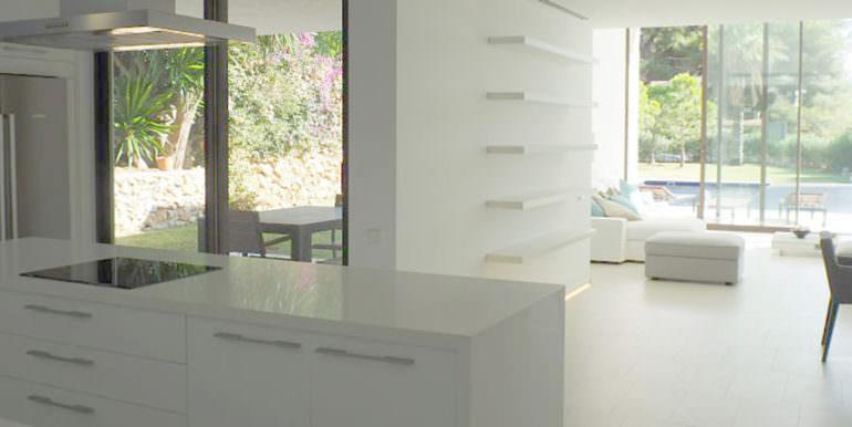 Modern new built luxury villa in Moraira El Portet - American kitchen and dining/living area - ID: 5500685 - Architect Ramón Esteve
