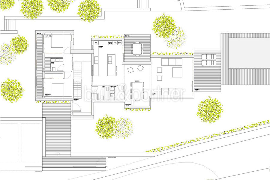 Modern new built luxury villa in Moraira El Portet - Floor plan ground floor - ID: 5500685 - Architect Ramón Esteve