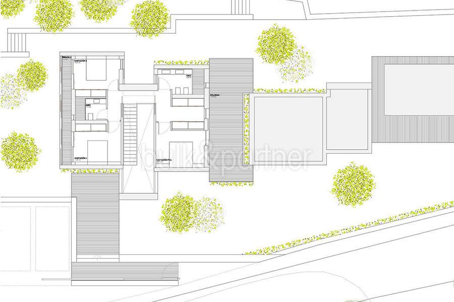 Modern new built luxury villa in Moraira El Portet - Floor plan top floor - ID: 5500685 - Architect Ramón Esteve