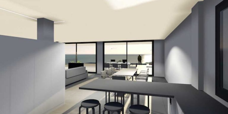 Modern new build luxury villa with sea views in Moraira Portichol - Open kitchen with living and dining area - ID: 5500656 - Architect Joaquín Lloret
