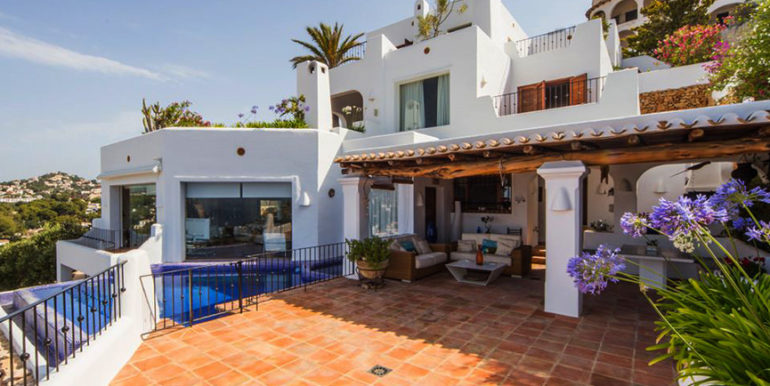 Exceptional ibiza style luxury villa in Moraira El Portet - Pool terrace - ID: 5500687 - Architect Joaquín Lloret