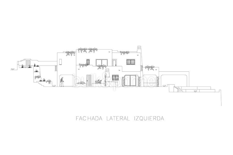 Ibizan luxury villa with harbour/sea view in Moraira Portichol/Club Náutico - Floor plan facade lateral left - ID: 5500688 - Architect Joaquín Lloret