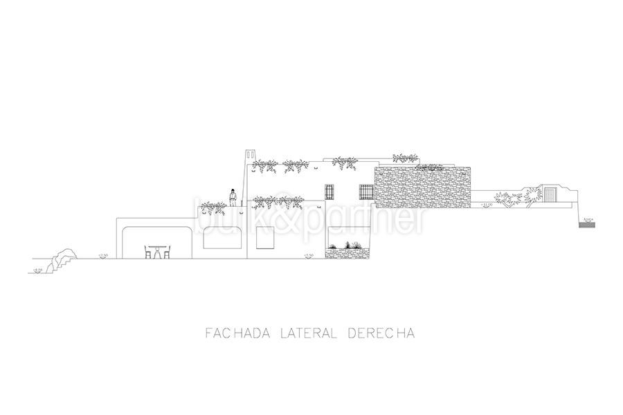 Ibizan luxury villa with harbour/sea view in Moraira Portichol/Club Náutico - Floor plan facade lateral right - ID: 5500688 - Architect Joaquín Lloret