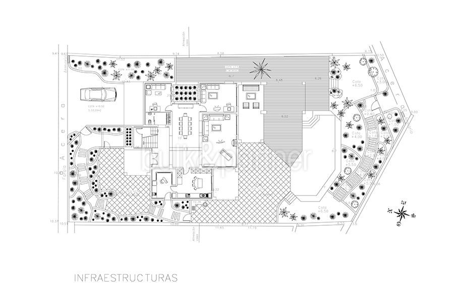 Ibizan luxury villa with harbour/sea view in Moraira Portichol/Club Náutico - Floor plan infrastructure - ID: 5500688 - Architect Joaquín Lloret