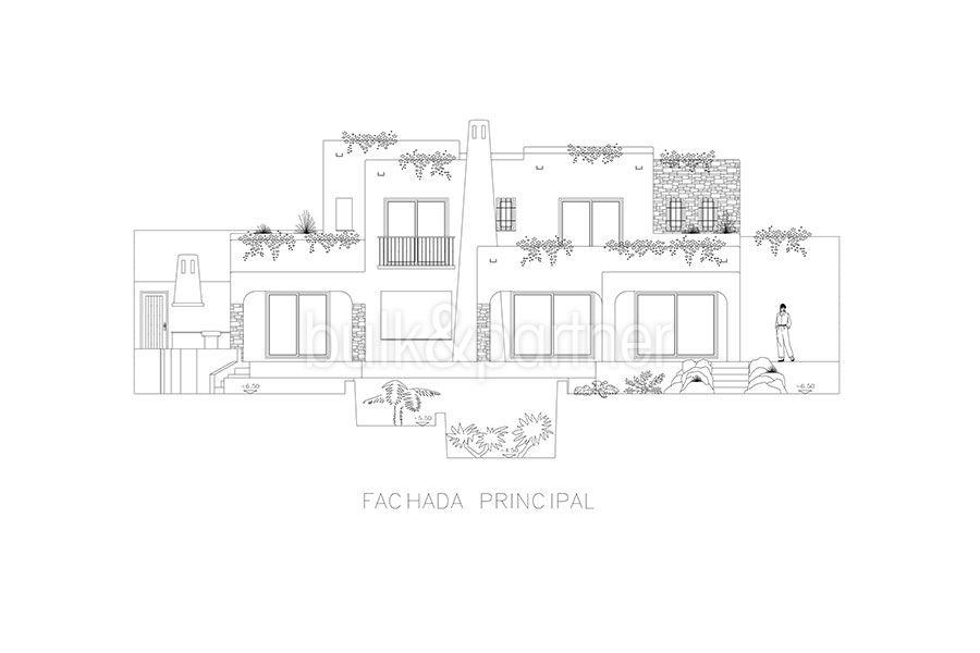 Ibizenkische Luxusvilla mit Hafen/Meerblick in Moraira Portichol/Club Náutico -Grundriss Hauptfassade - ID: 5500688 - Architekt Joaquín Lloret