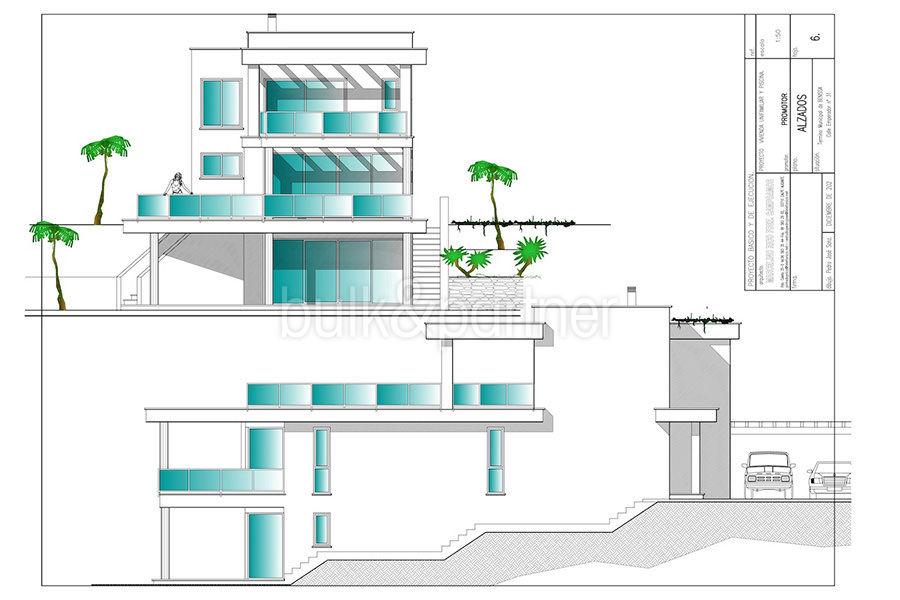 Seafront luxury villa in Benissa Cala Advocat - Floor plan facade front and left - ID: 5500677
