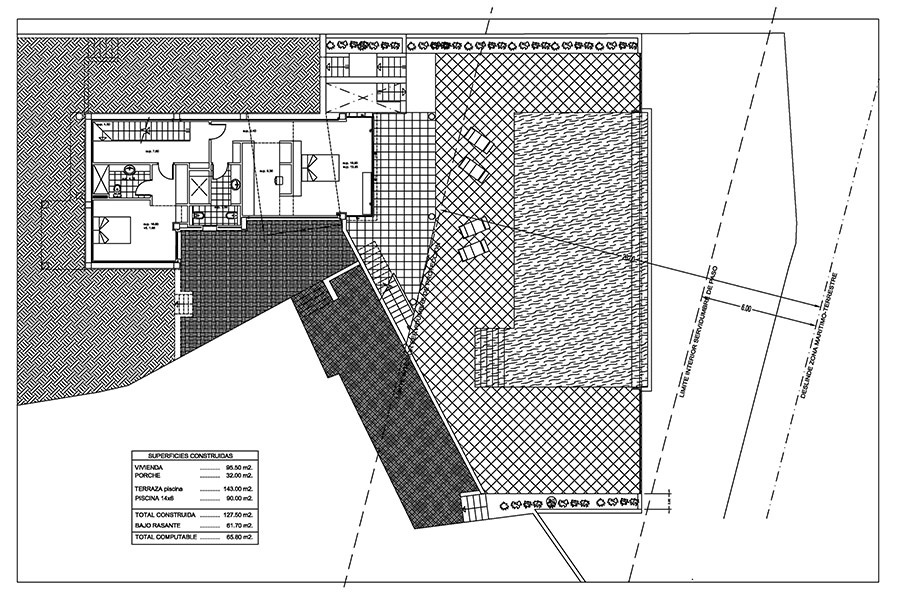 Seafront luxury villa in Benissa Cala Advocat - Floor plan pool level - ID: 5500677