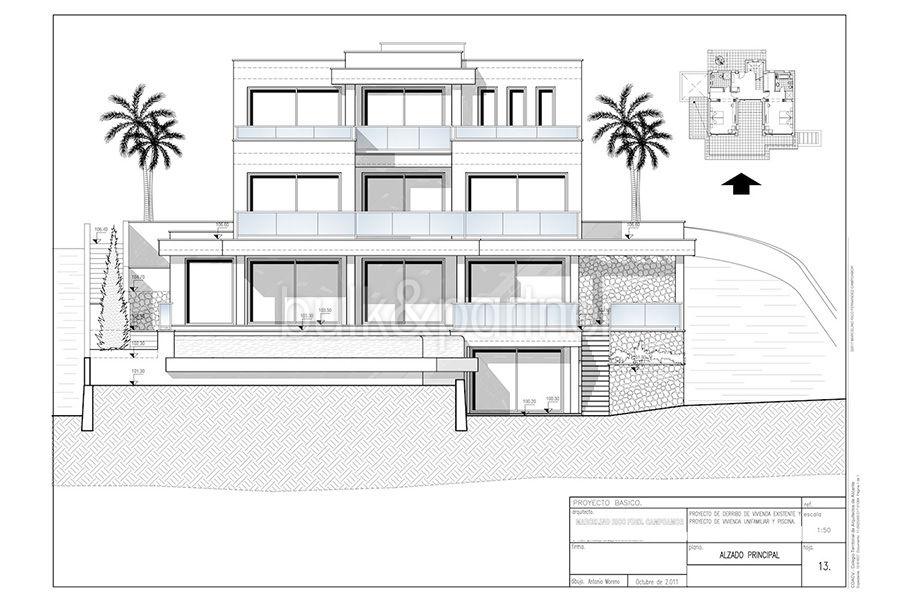 Wonderful new villa with stunning sea views in Moraira San Jaime/Moravit - Floor plan facade - ID: 5500675