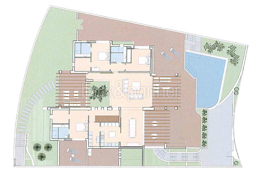 Ibizan luxury villa in top location in Moraira Portichol/Club Náutico - Floor plan ground floor - ID: 5500691 - Architect Joaquín Lloret