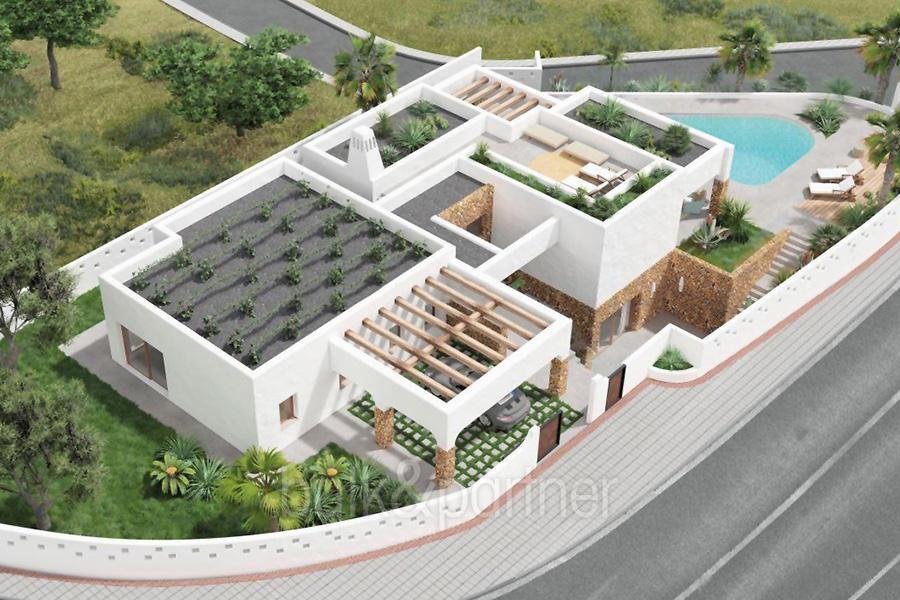Villa de lujo en estilo ibicenco con vista al puerto/mar en Moraira Portichol/Club Náutico