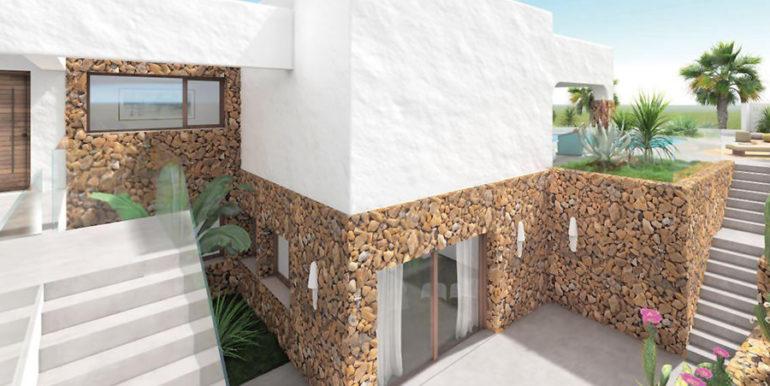 Luxusvilla im Ibiza-Style mit Hafen/Meerblick in Moraira Portichol/Club Náutico - Untergeschoss mit Natursteinmauern - ID: 5500690 - Architekt Joaquín Lloret
