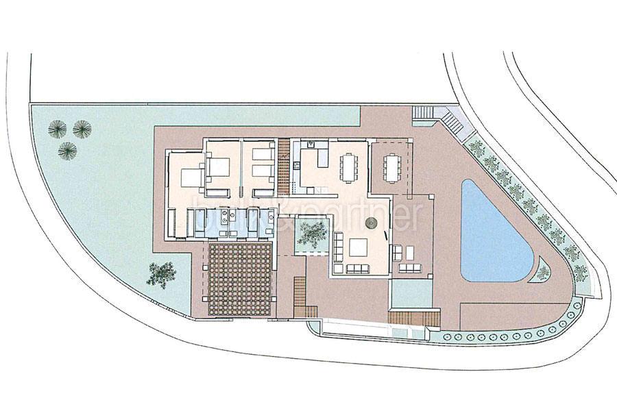 Luxury villa in Ibiza style with harbour/sea view in Moraira Portichol/Club Náutico - Floor plan ground floor - ID: 5500690 - Architect Joaquín Lloret