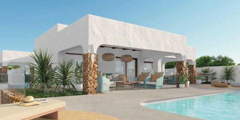 Luxusvilla im Ibiza-Style mit Hafen/Meerblick in Moraira Portichol/Club Náutico - Pool Terrasse - ID: 5500690 - Architekt Joaquín Lloret