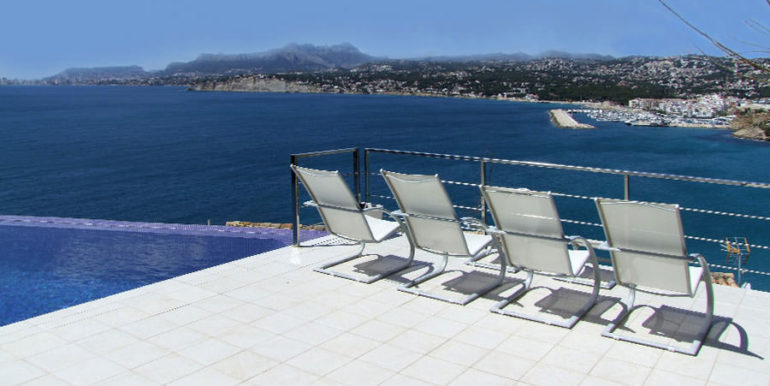 Superb luxury villa in prime location in Moraira El Portet/Cap d'Or - Terrace with harbour and sea views - ID: 5500689