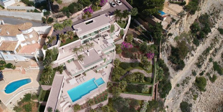 Luxusvilla in erster Meeresline mit privatem Strandzugang in Moraira Cap Blanc - Villa aus der Luft - ID: 5500694