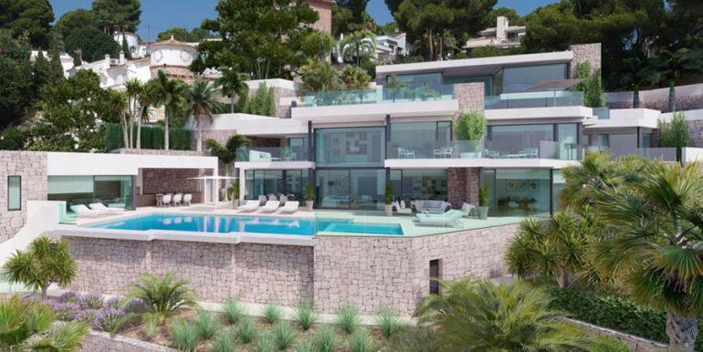 Luxusvilla in erster Meeresline mit privatem Strandzugang in Moraira Cap Blanc - Villa von vorne - ID: 5500694