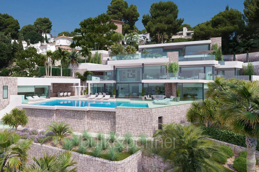 First line luxury villa with private beach access in Moraira Cap Blanc