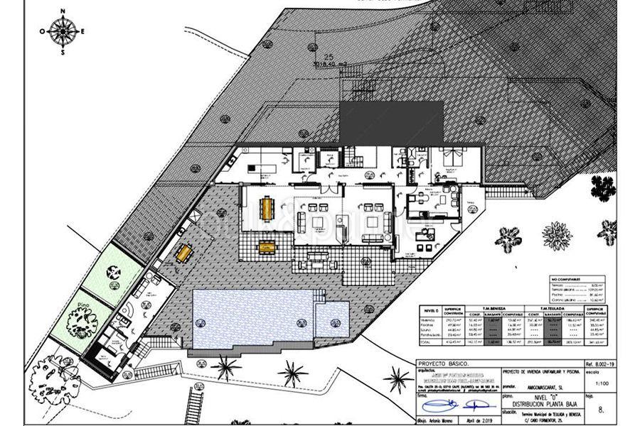 Luxusvilla in erster Meeresline mit privatem Strandzugang in Moraira Cap Blanc - Grundriss Erdgeschoss - ID: 5500694