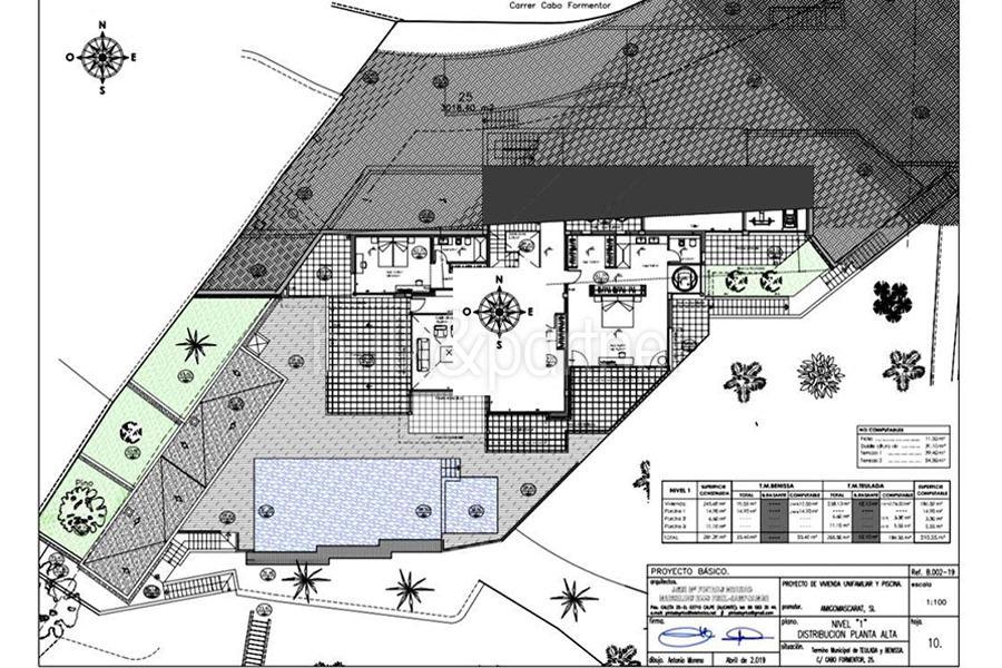 Luxusvilla in erster Meeresline mit privatem Strandzugang in Moraira Cap Blanc - Grundriss Ebene 1 - ID: 5500694