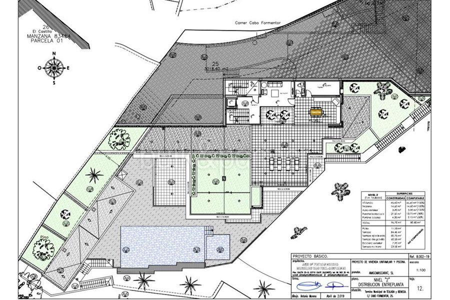 Luxusvilla in erster Meeresline mit privatem Strandzugang in Moraira Cap Blanc - Grundriss Ebene 2 - ID: 5500694