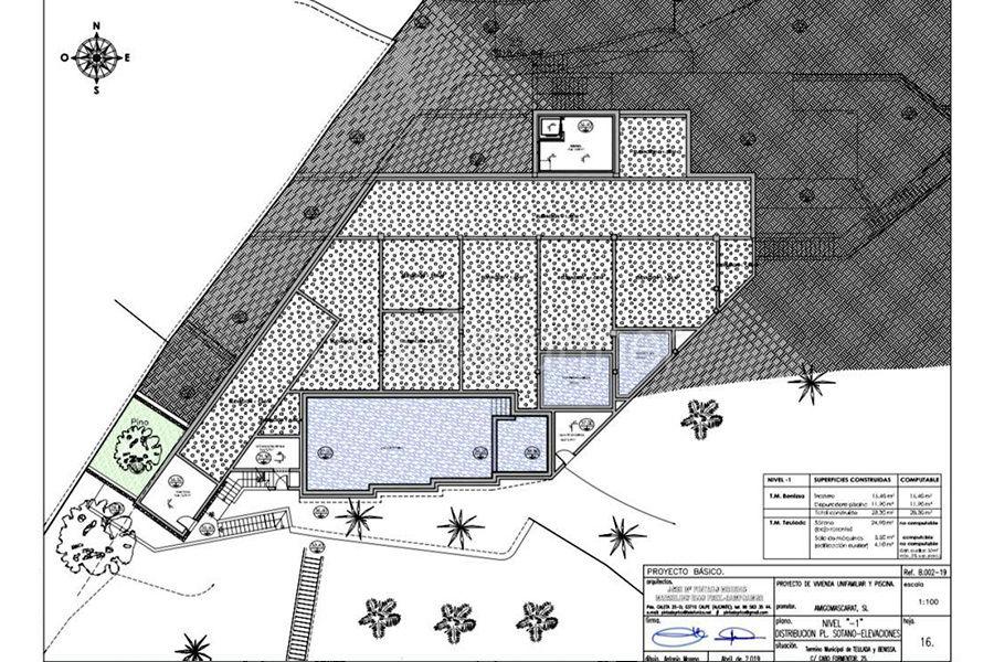 Luxusvilla in erster Meeresline mit privatem Strandzugang in Moraira Cap Blanc - Grundriss Ebene minus 1 - ID: 5500694