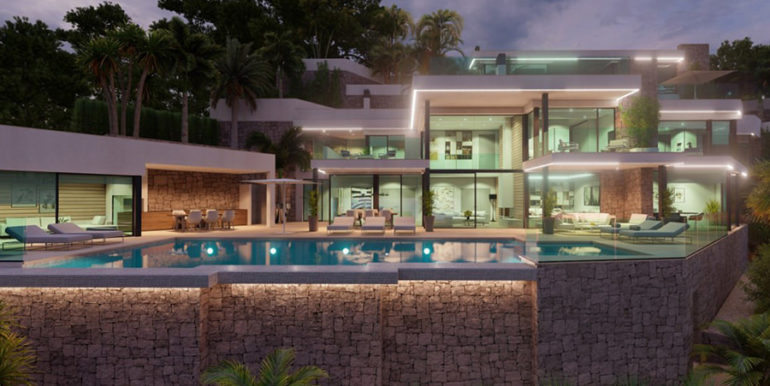 First line luxury villa with private beach access in Moraira Cap Blanc - Villa illuminated - ID: 5500694